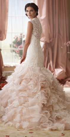 Ruffles, lace and a hit of color ~ David Tutera for Mon Cheri Spring 2014 Bridal Collection | bellethemagazine.com