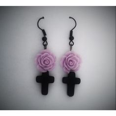 Black Cross, Pastel Goth Earrings with a Purple Rose. Dark, Lolita. ($9.97) ❤ liked on Polyvore featuring jewelry, earrings, rose jewellery, rose jewelry, cross jewelry, purple jewelry and gothic earrings
