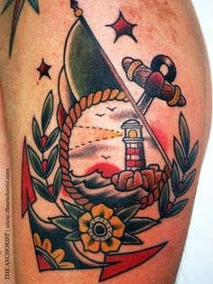tattoo old school / traditional nautic ink - lighthouse with anchor @ arm