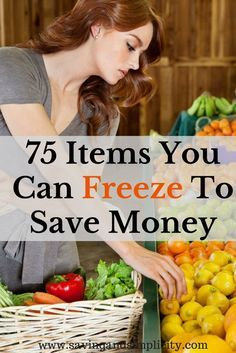 75 Items You Can Freeze To Save Money Have you ever wondered what food items you can freeze? More than you think. Learn 75 items you can freeze to save money. Number 33 & 75 surprised me. Freezing Vegetables, Freezing Fruit, Fruits And Veggies, Freezing Onions, Cooking Vegetables, Frozen Vegetables, Freezer Cooking, Cooking Tips, Freezer Recipes