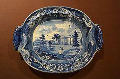 American Historical Dark Blue Woodlands Near Philadelphia Platter Stubbs C 1825 | eBay