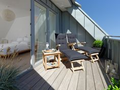 Apartment Baltrumflair in Baltrum for up to 4 people in a dream holiday apartment … - All About Balcony Pergola With Roof, Patio Roof, Pergola Kits, Outdoor Furniture Sets, Home Furniture, Outdoor Decor, Dormer Loft Conversion, Roof Window, Attic Window