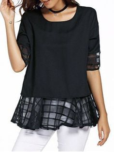 design of blouse Sweet Half Sleeve Round Neck Bowknot Design Spliced Chiffon Blouse For Women in Tops Trendy Clothes For Women, Trendy Outfits, Blouses For Women, Cheap Clothes, Tomboy Outfits, Emo Outfits, Black Chiffon Blouse, Chiffon Shirt, Yellow Blouse