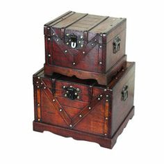 Quickway Imports Old Style Treasure Chest in Antique Cherry