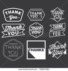 thank you badge set in grayscale color