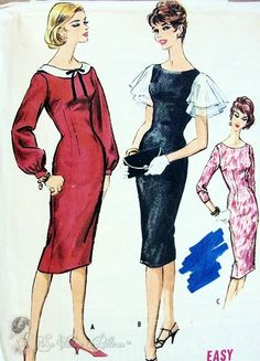 1950s Slim Sheath Dress Pattern Easy To Sew McCalls 5027 3 Style Versions Bust 31