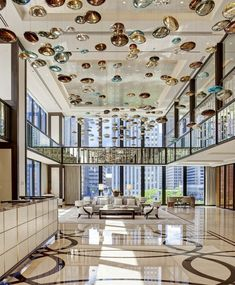 Lobby, facing the Chicago River. At The Langham, Chicago. Photo by Mike Schwartz.