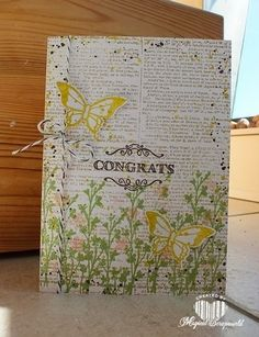 Magical Scrapworld: Stampin' Up! Nature's Perfection, Elegant Butterfly Punch, Gorgeous Grunge, Congrats sentiment from Simply Wonderful stamp set. Butterfly Cards, Flower Cards, Grunge Decor, Bee Cards, Printed Pages, Adult Crafts, Congratulations Card, Homemade Cards, Stampin Up Cards