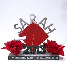 Commencement Celebration Centerpiece for graduation party table decorations. Personalized with the graduate's name, school and year in their school colors. College Graduation Parties, Graduation Celebration, Graduation Party Decor, Graduation Cards, Graduation Invitations, Grad Parties, Graduation Ideas, Graduation 2016, Nursing Graduation