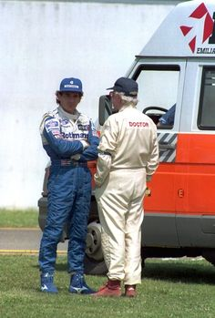 Ayrton Senna and Sid Watkins Photos Photos - 30 APR 1994:  AYRTON SENNA  OF BRAZIL TALKS WITH CHIEF FIA MEDICAL OFFICER, DR SID WATKINS AFTER ROLAND RATZENBERGER's FATAL CRASH DURING PRACTICE FOR THE SAN MARINO GRAND PRIX AT IMOLA. Mandatory Credit: Anton Want/ALLSPORT - (FILE) F1 Safety Pioneer Sid Watkins Dies At 84 San Marino Grand Prix, F1 Drivers, Benetton, His Eyes, Race Cars, Automobile, Racing, Unique, Backgrounds