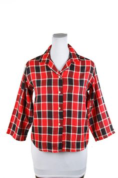 Hey, I found this really awesome Etsy listing at https://www.etsy.com/listing/509819020/1950s-shirt-red-cotton-plaid-long-sleeve