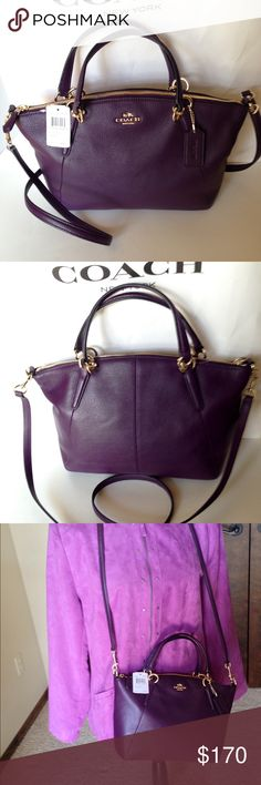 """NWT Coach Pebbled Leather Sm Kelsey, Aubergine New with tags, Coach (authenticity No. F36675), small Kelsey crossbody or satchel handbag in the color Aubergine. Aubergine is the color of the deep purple of eggplant. Pebbled leather with gold hardware. Zip top closure. Interior has zippered pocket and two slip pockets. Dual straps with 5"""" drop. Adjustable, removable strap for crossbody wear. Beautiful color!❤️ No Trades Coach Bags Crossbody Bags"""