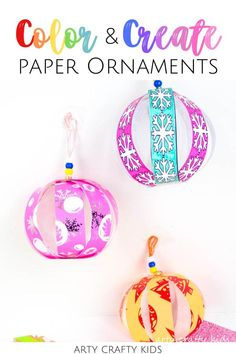 Looking for printable Christmas ornaments for kids to make at home or at school? These printable homemade Christmas ornaments for kids to make involve coloring paper   folding to make gorgeous baubles, making them quite simple for young children, including preschoolers. Get printable templates for these DIY Christmas ornaments   other easy Christmas crafts for kids here! Printable Paper Christmas ornaments for kids to make | Printable ornaments for kids templates | Christmas Ornaments DIY… Printable Christmas Ornaments, Paper Ornaments, Christmas Paper, Christmas Crafts For Kids, Homemade Christmas, Holiday Crafts, Easy Arts And Crafts, Fun Diy Crafts, Crafts For Kids To Make