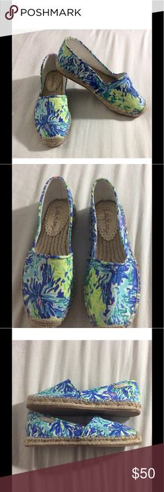 NWOT Lilly Pulitzer Espadrilles NWOT Lilly Pulitzer espadrilles in the Brilliant Blue Wade and Sea print. Perfect condition and never worn. These are the perfect edition to any comfy wardrobe and look great with short, jeans or a cute skirt.  💕Comes from a smoke and pet free home. Open to offers💕 Lilly Pulitzer Shoes Espadrilles