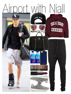"""Airport with Niall"" by praradise ❤ liked on Polyvore featuring Boohoo, Trukfit, I Love Ugly, Chanel, Christian Dior, adidas Originals, maurices, Valextra and NARS Cosmetics"