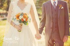 Fall Wedding, Orange and teal, grey suit groom, succulents and orange flowers bouquet.    Erica & Tom \ Colorful Villanova Wedding  #laurenfairphotography