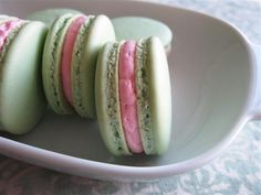 Pistachio Macarons with Rose Buttercream (lots of great tips for successful macarons!)