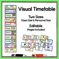 Two Visual Timetables in a large class size and an individual student size with 70 choices of cards. An alternative set with British and Australian spelling is included. The font used is