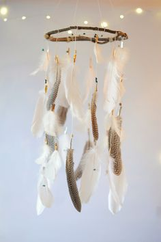 Turquoise White and Natural Dreamcatcher Mobile by DreamkeepersLLC