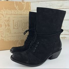 "[Latigo] Portland Lace Up Boot Suede Boho Chic Unique pair of mid calf boots. Cool burnished suede finish for a lives in look. Square toe. Wrap around laces. Wood grain heel finish. Very comfortable. True to size.  Material: Leather Upper and Lining/Synthetic Sold Shaft Height: 8"" Heel Height: 2"" Condition: New in box. Box included.  No Trades! Latigo Shoes Lace Up Boots"