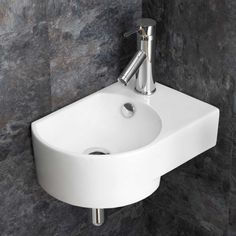 Small Wall Hung Corner Basin in White Ceramic Right Hand Sink with Overflow x Aversa Wall Mounted Basins, Wall Mounted Bathroom Sinks, Bathroom Basin, Wall Mounted Tv, Basin Sink, Bathroom Vanities, Small Downstairs Toilet, Small Toilet Room, Small Bathroom