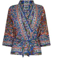 Mes Demoiselles Gitane Gypsy Print Jacket (315 BAM) ❤ liked on Polyvore featuring outerwear, jackets, gypsy print, open front jacket, paisley print jacket, pattern jacket, print jacket and paisley jackets