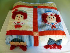 Raggedy Ann and Andy Infant Comforter Blanket Quilt Applause Like New in package - Gender Neutral Blankets