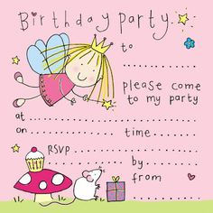 Free cute fairy birthday party invitation for girl http://freeprintabletemplate.blogspot.com/2012/06/free-printablefairy-birthday-party.html