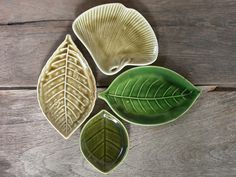 Set of 4 Plates Leaf Shapes Green Plates Snack Dishes by Singhato