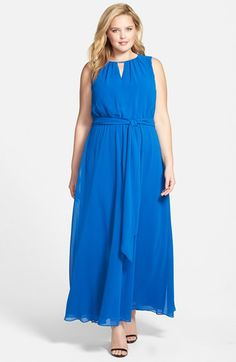 Vince Camuto Keyhole Detail Sleeveless Blouson Maxi Dress (Plus Size) available at #Nordstrom
