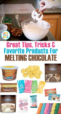 Great tips and tricks for melting chocolate, tells you what kinds of chocolate… Cake Decorating Techniques, Cake Decorating Tips, Cookie Decorating, Birthday Cake Pops, Birthday Candy, Chocolate Covered Pretzels, Melting Chocolate, Wilton Chocolate Melts, Chocolate Toppers