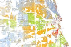 Map America's Racial Segregation - Chicago. White: blue dots; African American: green dots; Asian: red; Latino: orange; all others: brown