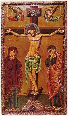Icon of the Crucifixion, showing the Five Holy Wounds century, Saint Catherine's Monastery, Mount Sinai) Orthodox Icons, Crucifixion Of Jesus, Byzantine Art, Christian Artwork, Jesus Christ Cross, Art, Sacred Art