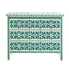 New Surrealz Bone Inlaid Sideboard Chest of Drawers in green with abstract aztec, geometric star pattern. Also available in Mother of Pearl inlay options and other colours. Blue Chest Of Drawers, Blue Chests, Custom Made Furniture, Painted Furniture, Three Drawer Dresser, Teal Green Color, Decorative Boxes, Interior, Design