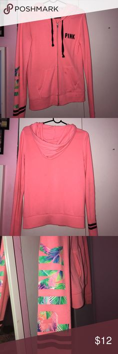 VS PINK hoodie pink sweatshirt, worn a couple of times, has some stains that could probably be washed out PINK Victoria's Secret Tops Sweatshirts & Hoodies
