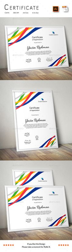 A Great Creative Colorful Certificate Template for Creative Person.Features: Easy to Edit CMYK Color 300 DPI High Resolution Size ( bleed setting) Print Ready Format Free Fonts Files Includes: 2 Ai Stationery Printing, Stationery Templates, Stationery Design, Powerpoint Program, Powerpoint Template Free, Stencil Templates, Print Templates, Business Templates, Certificate Design