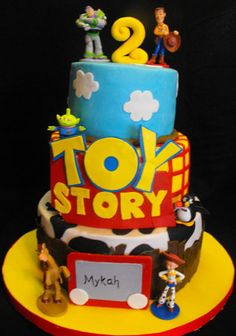Toy Story cakes are so much fun to make and kids really love them. I received the above picture from a customer (before I closed my cake shop) and made this cake for her. I loved the way the cake turned out so much that I decided to make the … Fête Toy Story, Bolo Toy Story, Toy Story Cakes, Toy Story Party, Bolo Tumblr, Toy Story Birthday Cake, 3rd Birthday, Birthday Ideas, Birthday Cakes