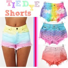 How to Tie Dye Shorts.just ripped a pair of white shorts.maybe of I see it up and dye them, you'd never know! Diy Tie Dye Shorts, Moda Tie Dye, Ty Dye, Summer Outfits, Cute Outfits, Summer Shorts, Summer Clothes, Diy Sac, New York Girls