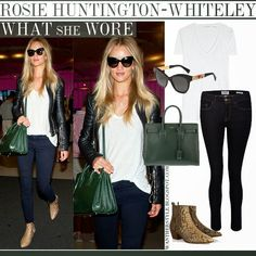 Rosie Huntingotn-Whiteley in black leather jacket, white top, blue skinny jeans, brown ankle boots with green tote and black sunglasses