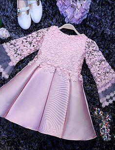 Corte en A Corta / Mini Vestido de Niña Florista - Satén Manga Larga Joya con