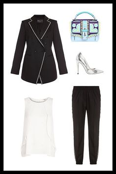 What To Wear To Every Type Of Job Interview  #refinery29  http://www.refinery29.com/job-interview-outfits#slide-4  For The Fashion Girl  If there's any moment in life when you need to look like the real deal, it's when you're interviewing at a fashion office. An updated suit — this pearl-accented-jogger iteration is everything — combined with sleek add-ons is your best friend here. Just remember: If you go for a statement bag, tone down the heels with neutral silver.  ...
