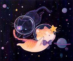 gouache illustration commissions for lovely kitty owners. Japon Illustration, Cute Illustration, Cute Animal Drawings, Kawaii Drawings, Dibujos Cute, Space Cat, Kawaii Art, Cat Drawing, Cat Art