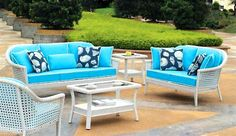 The Monaco Sectional group is made of Heavy all weather high density polyethylene synthetic wicker over aluminum frame. The Monaco can be placed directly in sunlight, rain, and all elements. Outdoor Coffee Tables, Outdoor Sofa, Outdoor Living, Outdoor Decor, White Wicker Patio Furniture, Outdoor Furniture Sets, Rattan Furniture, Monaco, Simple House Design