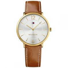 Tommy Hilfiger Silver Ultra Slim Mens Analog Casual Brown Watch 1710353 for sale online Gold Watch, Quartz, Stainless Steel, Brand New, Watches, Best Deals, Leather Case, Brown Leather, Men