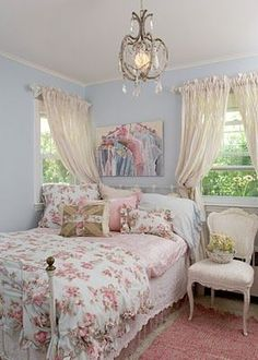 Pastel Blue and Pink Bedroom in Shabby Chic Style. - Pastel Blue and Pink Bedroom in Shabby Chic Style. Pastel Blue and Pink Bedroom in Shabby Chic Styl - Rose Shabby Chic, Cottage Shabby Chic, Shabby Chic Mode, Shabby Chic Apartment, Style Shabby Chic, Shabby Chic Bedroom Furniture, Shabby Chic Stil, Chic Bedding, Shabby Chic Living Room