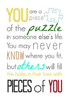 You are a Piece of the Puzzle Printable | sWeeT cHarLi | Bloglovin'