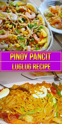 Pancit Luglug Recipe (Palabok) is also known as rice noodles with a medley of toppings and sauce. Luglog literally means to dunk in water. Filipino Dishes, Filipino Recipes, Asian Recipes, Gourmet Recipes, Snack Recipes, Cooking Recipes, Filipino Food, Healthy Recipes, Ethnic Recipes