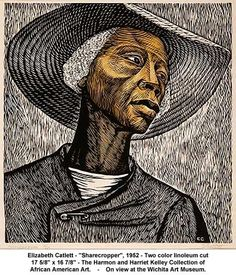 "Elizabeth Catlett ""Sharecropper"" 1952  two color linoleum cut 17 5/8""x14 7/8"" Harmon and Harriet collection of African American Art."