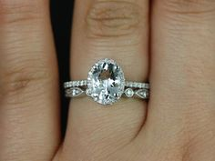 Rebecca & Bead Eye 14kt White Gold Oval White Sapphire and Diamonds Halo Wedding Set (Other metals and stone options available)