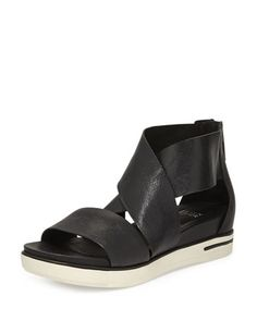 Sport Wide-Strap Leather Sandal, Black by Eileen Fisher at Neiman Marcus.